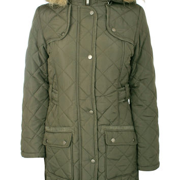 Luna Quilted Detachable Hood Long Sleeve Coat in Khaki Green