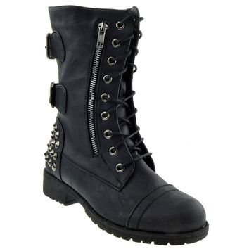 Women's Black Military Lace Up Studded Combat Boots