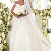 [189.99] Graceful Tulle Off-the-Shoulder Neckline Ball Gown Wedding Dresses With Lace Appliques - dressilyme.com