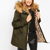 ASOS Parka with Animal Faux Fur Liner