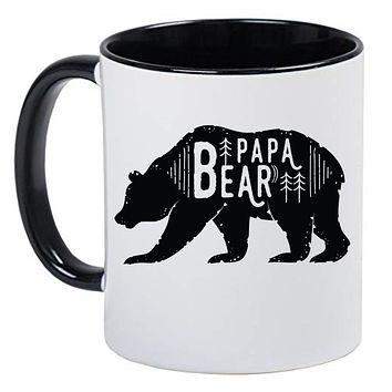 Papa Bear Cute Farmhouse Mug Coffee Cup, Gift for Her, Farmhouse Decor, Gift for Women, Hot Chocolate, 11 Ounce Ceramic Mug