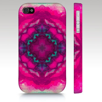 iPhone 4s case, iPhone 4 case, iPhone 5 case, watercolor design, abstract mandala painting, pink mint kaleidoscope art for your phone