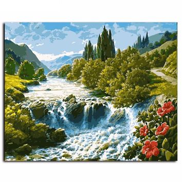 Water Falls Landscape DIY Canvas Oil Painting By Numbers Kit - DIY Art Home Decor