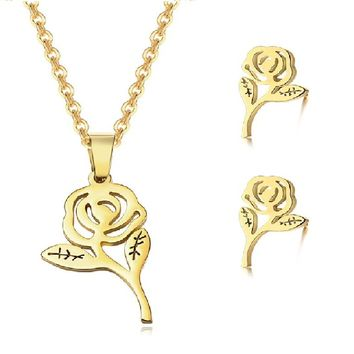 Gorgeous Women Rose Flower Ornament Set