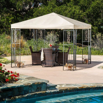 10 Ft. x 10 Ft. Freestanding Outdoor Gazebo with Camel Color Canopy