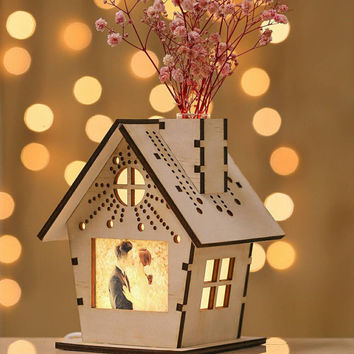 House Shaped Wooden Miniature Silhouette Night Lamp Table Light/Dried Flower  Base Fragrance Diffuser/