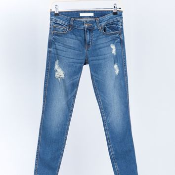 Slightly Distressed Denim Jeans