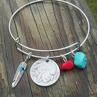 Buffalo coin bracelet. American Indian jewelry. Bangle bracelet. Native jewelry. Turquoise and coral. Feather jewelry