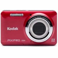 Kodak PIXPRO FZ51 - 16MP Digital Camera with 5X Optical Zoom, 2.7 LCD, 720p Video Recording - Red