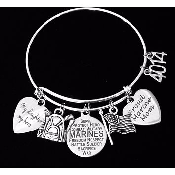 Personalized Marine Daughter Gift for Marine Mom Expandable Charm Bracelet Silver Adjustable Bangle One Size Fits All Gift USA Military USMC