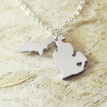 Michigan Necklace MI Necklace  alloy 925 sterling silver necklace heart necklace Pendant State Necklace State Charm Map necklace Map Jewelry