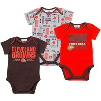 Cleveland Browns 3-Pack Bodysuit Set - Baby, Size: