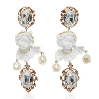 Orecchini Putti Cherub Brass And Crystal Earrings | Moda Operandi