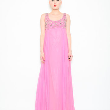 60s Gown - Pink Beaded Chiffon Maxi Dress - 1960s Formal Empire Waist Gown with Sequins Cocktail Prom - XS S 2 4