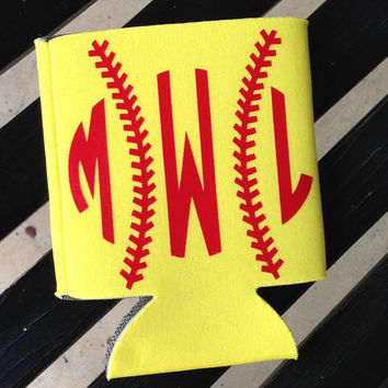 Monogram Softball Koozie Personalized Koozies Personalized Coozie Wedding Coozie Can Coozie Preppy Monogram Koozie Coozie Monogrammed Gifts