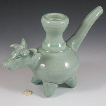 Celadon Cow Effigy Pipe