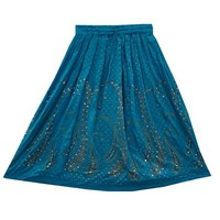 Designer Skirt Sequin Beaded Bohemian Gypsy Turquoise Peasant Skirts