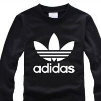 "Women Couple ""Adidas""Pattern Print Velvet Pullover Long Sleeve Sweatshirt"
