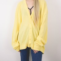 Vintage 70s Yellow Cardigan Sweater