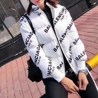 """Balenciaga"" Women Simple Fashion Logo Letter Print Long Sleeve Zip Cardigan Cotton-padded Clothes Coat"