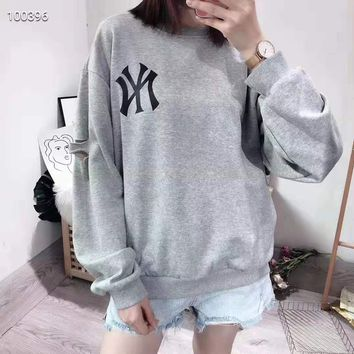 """NY"" Woman Leisure Fashion Wild Letter Embroidery Printing Round Neck Loose Long Sleeve Tops"
