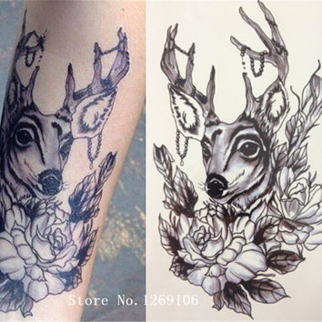 NEW Simple Design Fashion Deer And Flower 21 X 15 CM Sized Sexy Cool Beauty Tattoo Waterproof #154