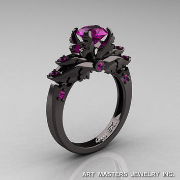 Classic 14K Black Gold 1.0 Carat Amethyst Solitaire Engagement Ring R482-14KBGAM