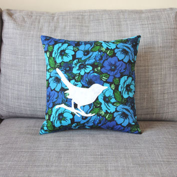 Blue and White Floral Bird Decorative Pillow