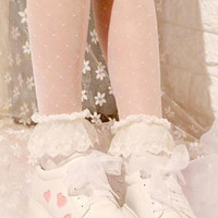 Adorable while with pink heart low heel shoes