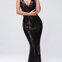 Blame Me Black Sequin Geometric Pattern Sleeveless Spaghetti Strap Plunge V Neck Maxi Dress