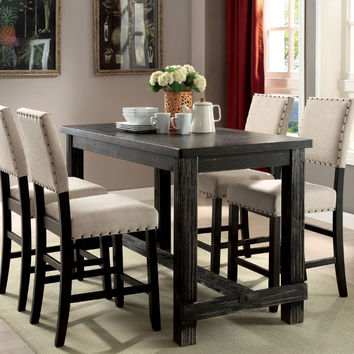 Furniture of america CM3324BK-PT-5PC 5 pc sania black finish wood counter height dining table set with padded chairs