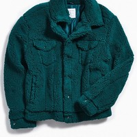 UO Sherpa Exterior Trucker Jacket | Urban Outfitters