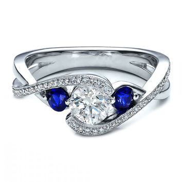 Engagement Ring - Twisted Diamond Engagement Ring blue sapphire Side stones in 14K White Gold - ES938BRWG
