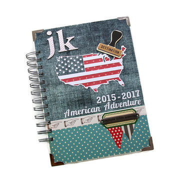 Monogrammed Travel Journal, Personalized American Journal Book, Scrapbook Travel Diary, USA Themed Adventure Book, Custom Travel Journal