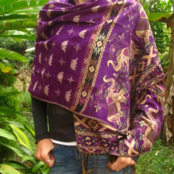 Purple Gold Elephant Shawl Scarf Stole Wrap Boho Hippie Surfer Travel Fashion | eBay