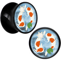 Black Acrylic Yin Yang Don't Be Koi Saddle Plug Set