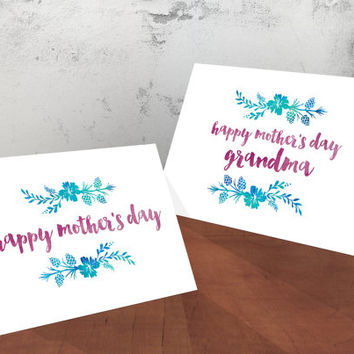 Printable Mother's Day Cards - Happy Mother's Day - Greeting cards for Mom and Grandma both included - Purple and Green Floral - PDF and JPG