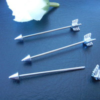 30PCS 16g~1.2mm Ear Industrial Barbell Ear Scaffold Bar Barbells Arrow