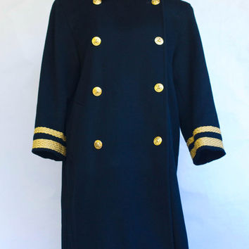 Vintage 1980's Harvé Bernard Full-Length Black Military Style Double Breasted Wool Coat With Metallic-Gold Soutache Trim. Size 8