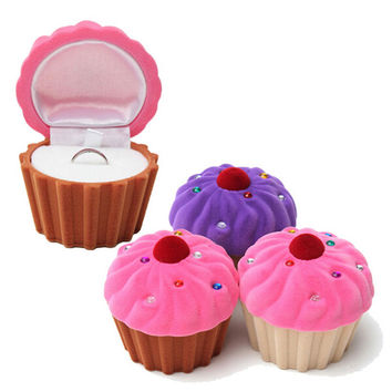 3 Colors Lovely CupCake Cake Shape Earring Ring Jewelry Storage Box Storage Boxes For Women Girls SM6