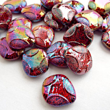 30 Drawbench Beads, Acrylic Beads, AB Plated Beads, Red and Purple Beads, 22mm Red AB Bead, Spray Painted, Textured Beads, UK Seller