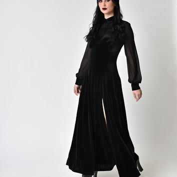 Hell Bunny Black Velvet & Chiffon Long Sleeve Estelle Maxi Dress