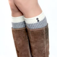SALE 30% off | Two color boot cuffs with buttons. Soft warm white and grey wool leg warmers