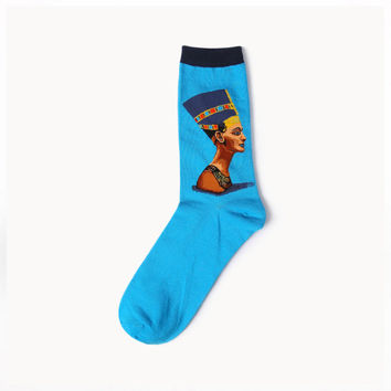 Egyptian Queen Nefertiti Socks - Blue