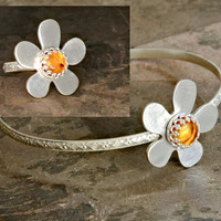 Amber Flower Sterling Silver Bangle and Ring Set for Bridesmaids Cocktail Parties Fashionable Artisan Jewelry for Everyday Wear - BR400