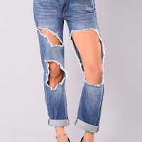 Gianna Cut Out Boyfriend Jeans - Medium