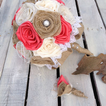 Burlap Bouquet, Coral Wedding, Wedding Burlap Bouquet, Burlap Bouquet, Rustic Burlap Bouquet, Burlap, Wedding, Bride, Groom, Favor, Pearl