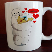 hair baby pikachu pokemon hero six Mug front 11 oz White Ceramic Mug custom mug coffee and tea
