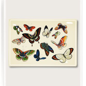 12 Fluttering Butterflies Decoupage Glass Tray