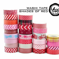 Washi Tape Paper Masking Tape - Wine Red Bow Ribbon